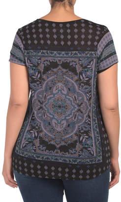 Lucky Brand Plus Short Sleeve Persian Carpet Shirt