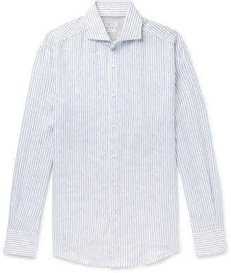 Brunello Cucinelli Slim-Fit Cutaway-Collar Striped Linen Shirt - Men - Blue