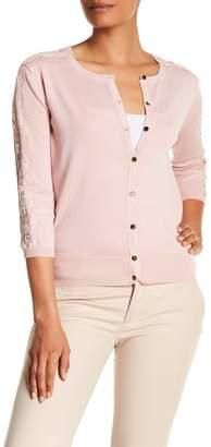 Catherine Malandrino Eyelash Lace Sleeve Trimmed Button Down Cardigan