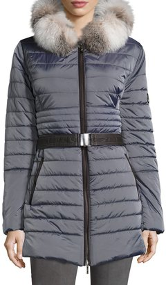 Gorski Fur-Trim Hood Puffer Jacket, Light Gray $1,195 thestylecure.com