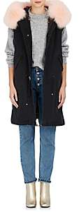 Mr & Mrs Italy Women's Embellished Fur-Trimmed Denim Long Vest-Black