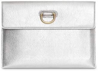 Burberry D-ring Metallic Leather Pouch with Zip Coin Case
