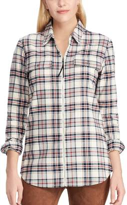 Chaps Women's Plaid Zip-Front Shirt