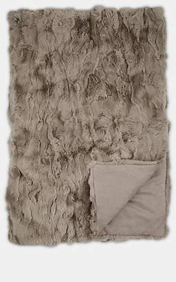 Adrienne Landau Rabbit Fur Throw - Light Gray