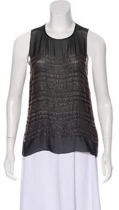 L'Agence Embellished Silk Sleeveless Top