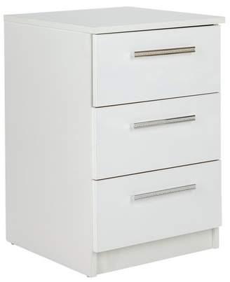 Argos Home Sparkle 3 Drawer Bedside Chest - White