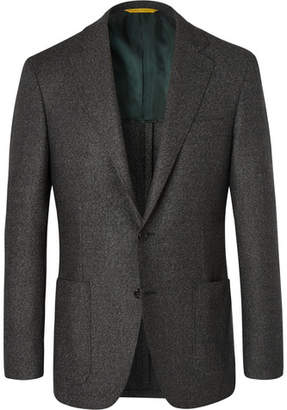 Canali Grey Kei Slim-Fit Wool-Flannel Suit Jacket