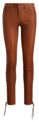 Ralph Lauren Lace-Up Stretch Leather Pant Dark Amber 2