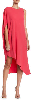 Narciso Rodriguez Jewel-Neck One-Sleeve Asymmetric Crepe Cocktail Dress