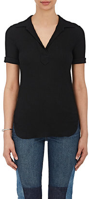 Helmut Lang Women's Rib-Knit Cotton Polo Shirt $195 thestylecure.com