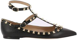 Valentino GARAVANI Ballet Flats Rockstud T-strap Ballerina Flats In Genuine Grained Leather With Maxi Metal Studs