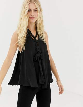 Free People Here With Me lace up cami top