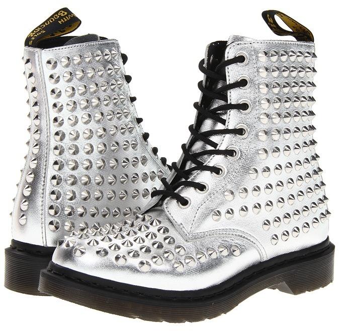 Dr. Martens Spike All Stud 8-Eye Boot (Silver) - Footwear