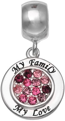 """Individuality Beads Sterling Silver Crystal """"My Family My Love"""" Charm"""