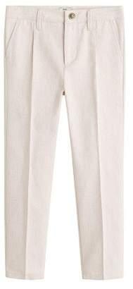 MANGO Pleated linen trousers