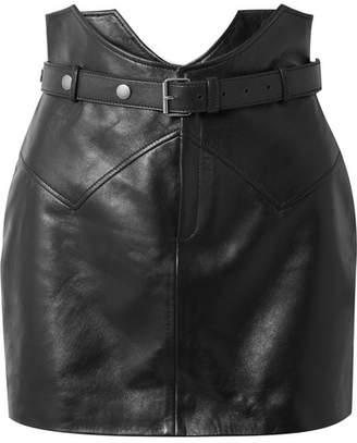 Saint Laurent Belted Leather Mini Skirt - Black