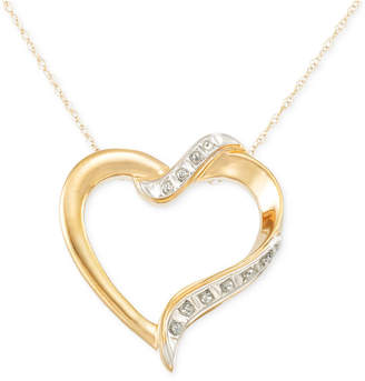 Signature Diamonds Heart Pendant Necklace in 14k Gold over Resin Core Diamond and Crystallized Diamond Dust