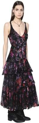 Etro Ruffled Printed Silk Devore Dress