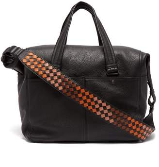 Bottega Veneta - Intrecciato Strap Leather Weekend Bag - Mens - Black Multi