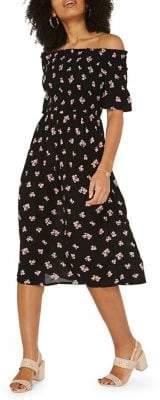 Dorothy Perkins Off-the-Shoulder Shirred Floral Dress