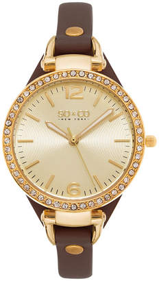 Co SO & NY Womens Soho Ultra Thin Genuine Leather Strap With Gold-Tone Dial & Crystal Filled Bezel Quartz Watch J155P32