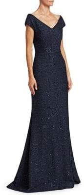 Lela Rose Women's Open Neck Sequined Tweed Gown - Navy - Size 8