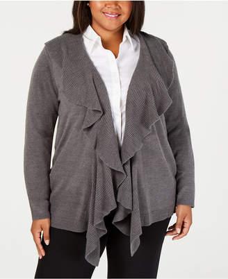 Karen Scott Plus Size Luxsoft Ruffled Cardigan