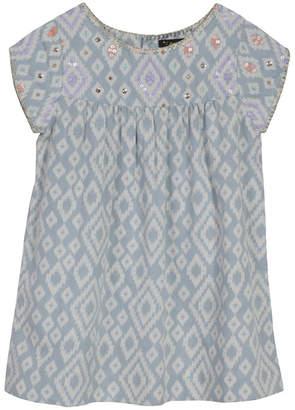 Velveteen Sequined & Geometric Shift Dress