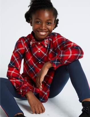Marks and Spencer Pure Cotton Checked Blouse (3-16 Years)