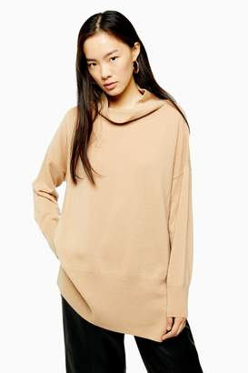Topshop Womens Knitted 100% Cashmere Longline Funnel Neck Top - Camel
