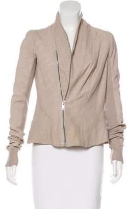 Rick Owens Rib Knit-Paneled Suede Jacket