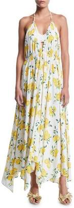 Kate Spade Lemon-Print Halter Coverup Maxi Dress