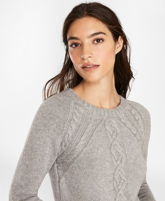 Brooks Brothers Wool-Blend Cable-Knit Raglan Sleeve Sweater