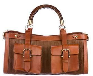 Burberry Wooden Handle Leather-Trimmed Bag