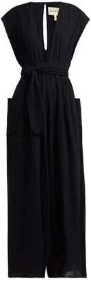 Mara Hoffman Whitney Deep V Neck Organic Cotton Jumpsuit - Womens - Black
