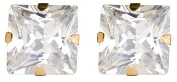 14K Yellow Gold Square CZ Stud Earrings - 8MM