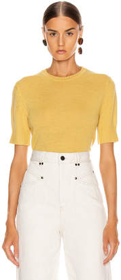 Jil Sander Short Sleeve Sweater Top in Medium Yellow | FWRD