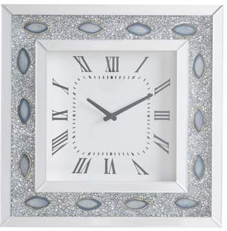 Acme Sonia Beveled Mirror Frame Wall Clock in Mirrored and Faux Agate