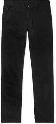 Canali Black Stretch-cotton Twill Trousers - Black