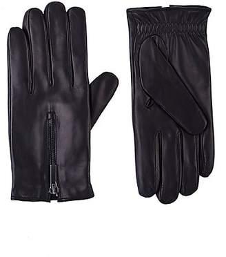 Barneys New York Men's Zip-Cuff Gloves - Black