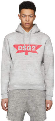 DSQUARED2 Grey Destroyed Logo Dan Hoodie