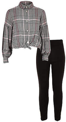 River Island Girls pink check shirt and leggings outfit