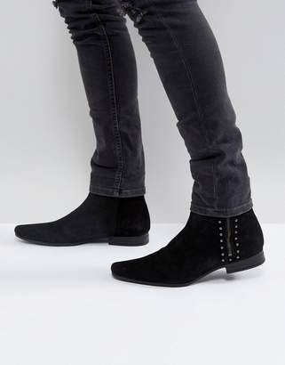 Asos Chelsea Boots In Black Suede With Stud And Zip Detail
