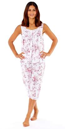 b4dd7ccf8d Lady Selena Ladies Floral Cotton Cropped Pyjama Set   Womens Summer  Lightweight PJ Set