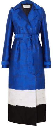Gabriela Hearst Ceuta Metallic Striped Cotton-blend Jacquard Trench Coat - Blue