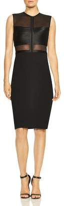 Halston Sleeveless High-Neck Illusion Bodice Dress