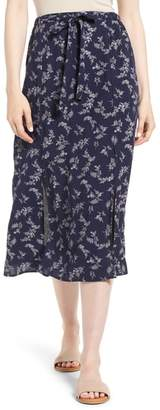 Hinge Print Tie Front Midi Skirt