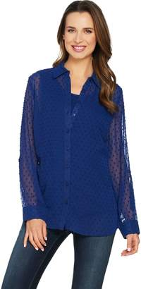 Denim & Co. Swiss Dot Tunic Shirt with Knit Tank Set