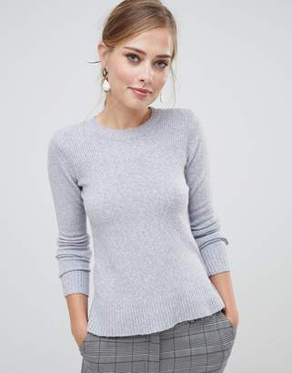 Oasis rib shoulder crew neck sweater in gray