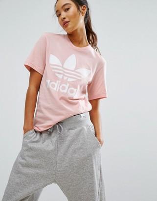 Adidas adidas Originals Pink Trefoil Boyfriend T-Shirt $30 thestylecure.com